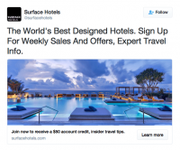 a screenshot of surface hotels twitter