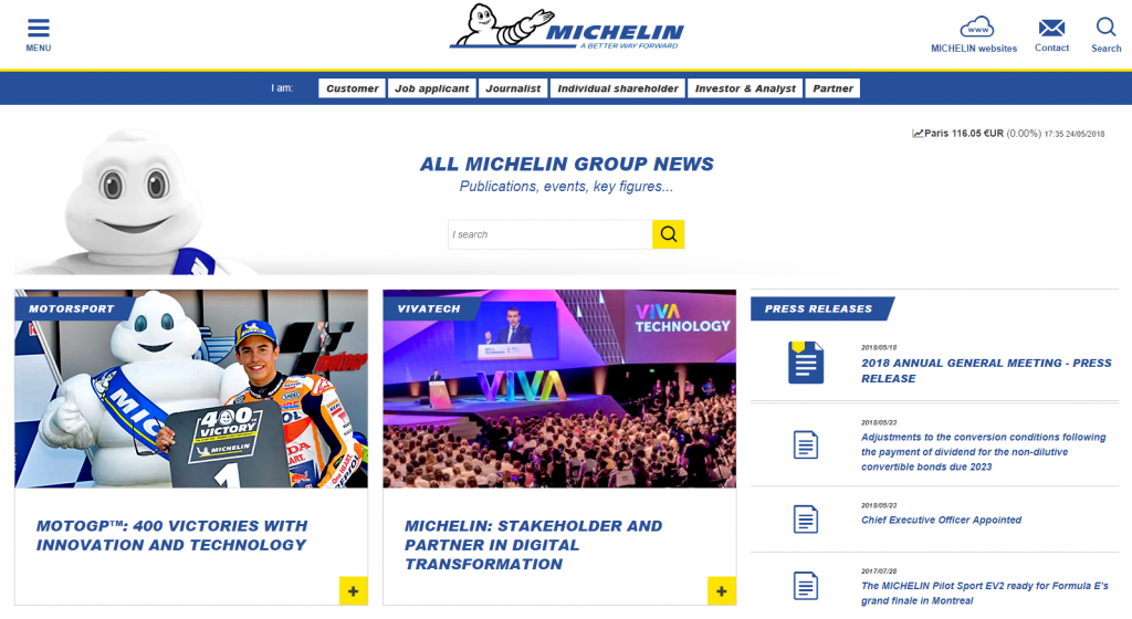 a screenshot of Michelin's website