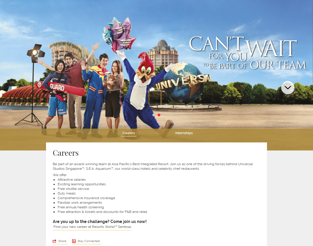 A screenshot of RWS career page