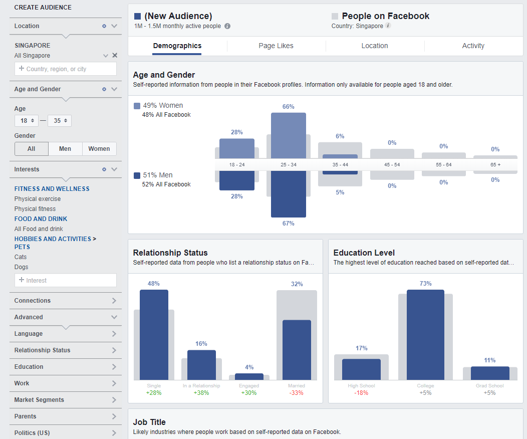 a screenshot from facebook audience insights