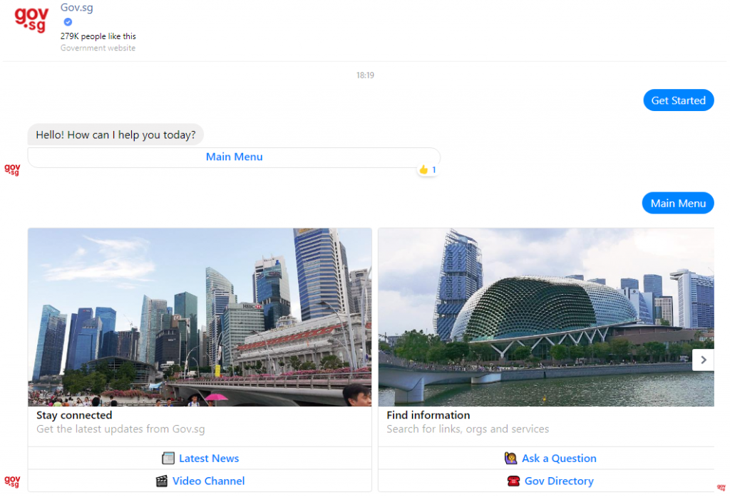 a screenshot of gov.sg's chatbot on facebook messenger