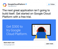 a screenshot of google could platform's twitter
