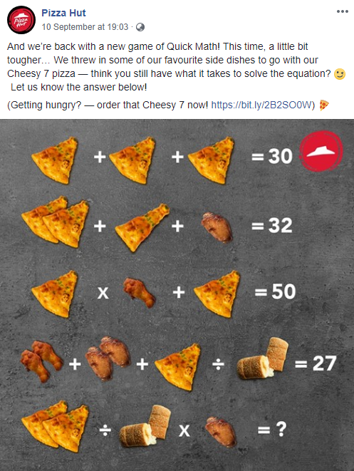 pizza hut social post